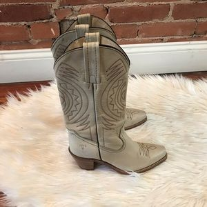 Cream Frye Leather Boots